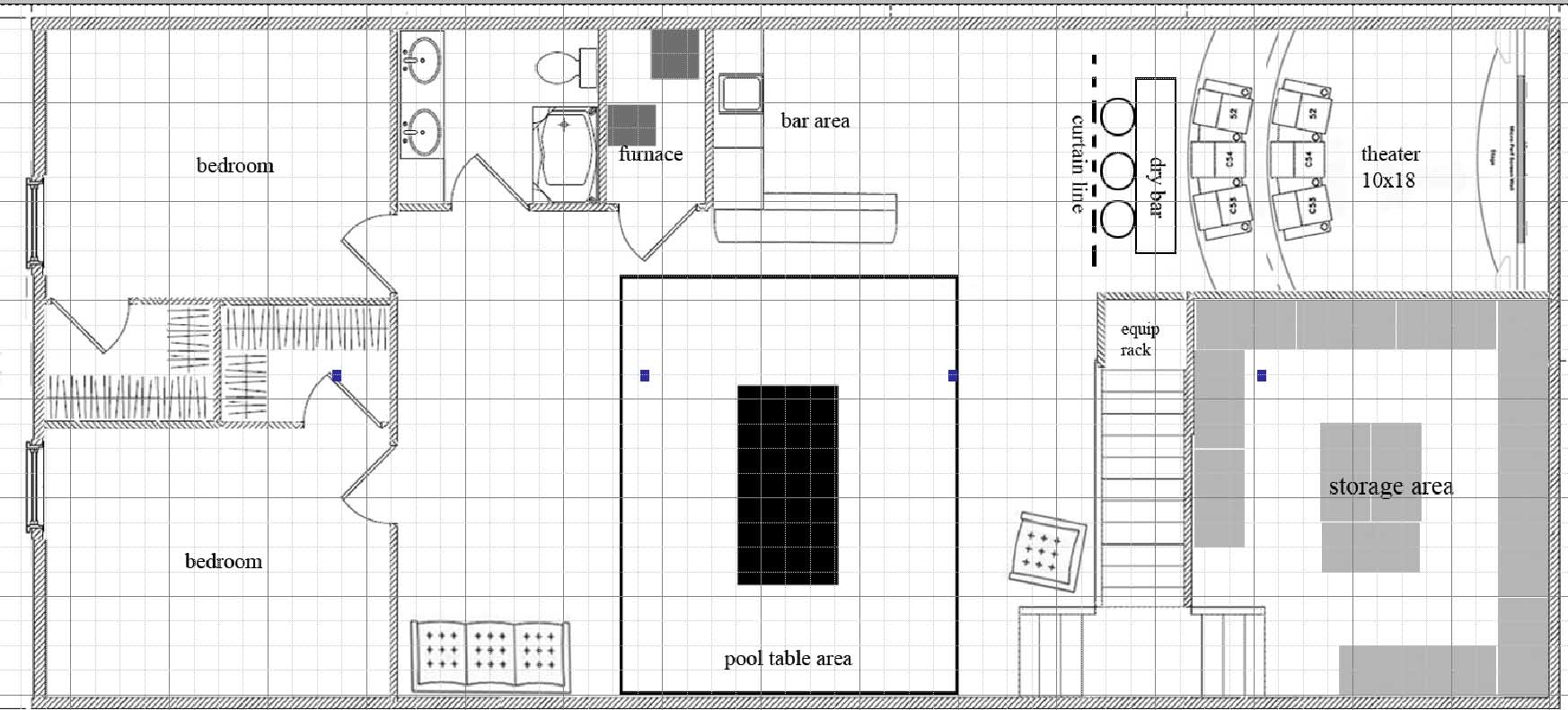 10x18 dedicater theater possible basement layout picture for Basement design layouts